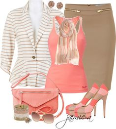 """Striped Peplum Jacket & Heels"" by jaimie-a on Polyvore"