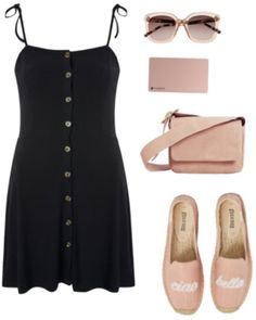 Coachella outfit idea: Black button-front spaghetti strap dress, rose gold accessories including sunglasses, a suede crossbody bag, and espadrille flats