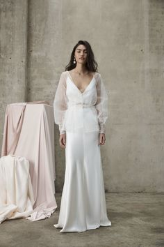 Designer Crush: Introducing Prea James Wedding Gowns at Lovely Bride We love Prea James' modern, relaxed design approach that also includes feminine details like pearls, floral embellishmen. Classic Wedding Dress, Romantic Wedding Gowns, Winter Wedding Dresses, Luxury Wedding Dress, Dream Wedding, Bridal Separates, Wedding Dress Separates, Bridal Dresses, Beautiful Dresses