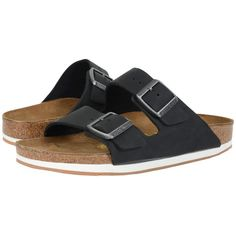 Birkenstock Arizona - Sport (Unisex) (Black Oiled Leather) Shoes ($140) ❤ liked on Polyvore featuring shoes, sandals, slip on shoes, black slip-on shoes, black slip on shoes, sports sandals and black leather shoes
