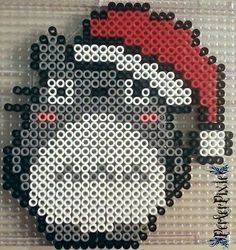 Santa Hat Totoro perler beads by PerlerPixie on DeviantArt