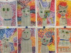 Kissat. Pointillismi. Sanomalehti. 3lk. Bujo, Art Projects, Art Ideas, Classroom, Quilts, Education, Painting, Art Education Resources, School