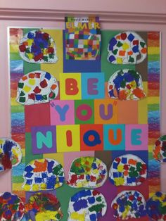 """Elmer says Be """"YOU"""" nique Bulletin Board After reading """"Elmer The Elephant"""""""