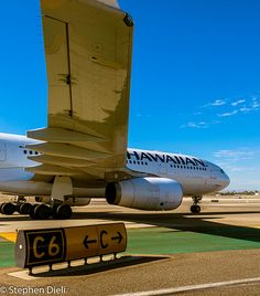 A Hawaiian Airlines Airbus A330-200 aircraft taxiing to its departure gate from overnight parking. #avgeeks