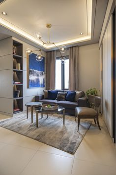 Here's an Interior Design of a Condominium Unit. Neutral and gold accent colors for a relaxing but luxurious feel of the space. Condominium Interior, Residential Interior Design, Luxury Interior Design, Empire Design, Red River, Accent Colors, Neutral, Interiors, Living Room