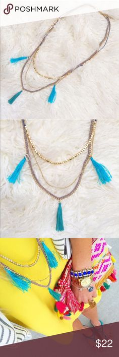 Turquoise Tassel Necklace Three layered necklace with blue tassels and grey thread with gold chains. New! No tags Jewelry Necklaces