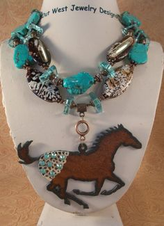 Cowgirl Necklace Set  Chunky Howlite Turquoise & Fire Agate with a Swarovski crystal Appaloosa pendant by Outwestjewelry