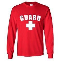 Lifeguard Long Sleeve Shirt - RedLarge LIFEGUARD and cross printed on the front pre-shrunk cotton Lifeguard Outfit, Lifeguard Costume, Lifeguard Hoodie, Red Hoodie, Hoodie Jacket, Crop Shirt, T Shirt, Hoodies, Sweatshirts