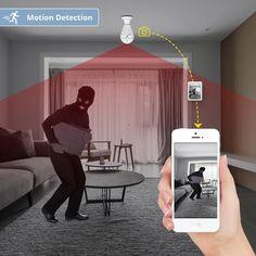 Wi-Fi Light Bulb Home Security Camera 360 Degree Best Home Security, Wireless Home Security, Security Alarm, Home Security Systems, Security Monitoring, Security Surveillance, Surveillance System, Hd Security Camera, Security Cameras For Home