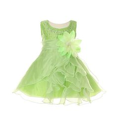 6ad9d5245b9 Cinderella Couture Baby Girls Lime Crystal Organza Cascade Ruffle Dress 24M    More info could be