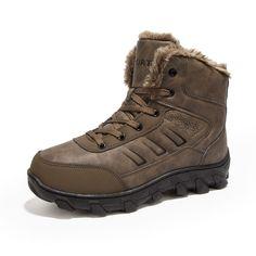Plus Size Outdoor Sport Medium Shoes Men Snow Plush Ankle Boots For Men Cotton Warm Lace-Up High Tops Casual Work Boots Botas