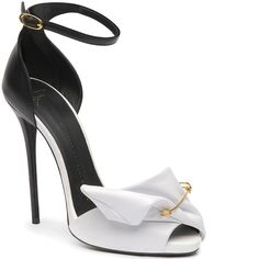 Giuseppe Zanotti Black & White Safety Pin d'Orsay Ankle-Strap Sandal Spring 2014 Collection #Shoes #Heels