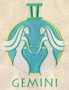 #Gemini Astrology Embroidered Flour Sack by EmbroideryEverywhere. via Etsy.