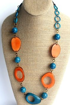 Tropical Celebration Tagua Necklace in Turquoise and Coral by RainforestColors on Etsy