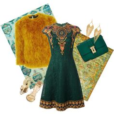 mustard deep green by fkjj on Polyvore featuring polyvore, fashion, style, Valentino, Topshop, Wild Diva and Panacea