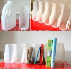 Eco Craft Tour: portalibri fatto riciclando flaconi del detersivo good for scraps??