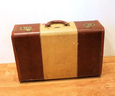 40s Suitcase Tommy Traveler Leather Trim Suitcase by MisterBibs