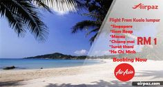 Hurry..!! Flight from Kuala lumpur Only RM 1 ! view more Cheapflights : http://blog.airpaz.com/en/big-promo-airasia-rm1-till-10-may-2015/