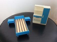 Vintage Dolls House Bedroom Furniture Plastic Blue/white Jean W Germany
