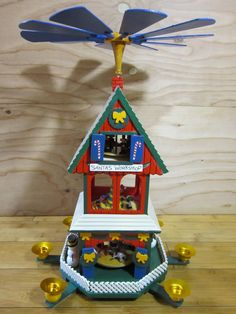 "Vintage Lillian Vernon Wooden Three Tier Santa's Workshop Christmas Carousel * Vintage Christmas Pyramid * Wooden Santa's Workshop 18"" High by RainbowConnection15 on Etsy"