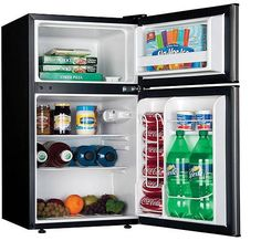 Haier 2 Door 3.3 cu ft Refrigerator Freezer Compact Mini Fridge Cooler Dorm - This Haier refrigerator is perfect for keeping snacks and drinks for small apartments, rec rooms and is the perfect dorm refrigerator for your kids going off to college. #MiniFridge #DormFridge #SmallRefrigerator
