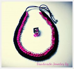 Handmade Jewelry Rg: Necklace black-fuchsia with chain