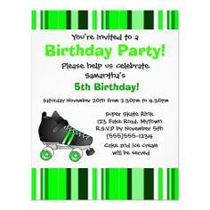 Green Roller Skate Birthday Party - Green Stripe Invites