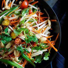 Green Papaya Salad Dressing 3 garlic cloves 3 Tbs. brown sugar 1/4 cup (2 fl. oz./60 ml) fresh lime juice 1 1/2 Tbs. Asian fish sauce  1 Tbs. rice vinegar 1/2 tsp. kosher salt