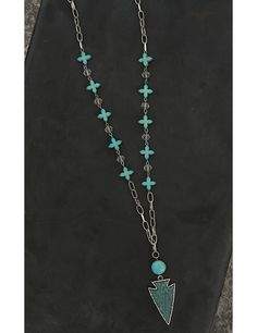 Wired Heart Silver with Turquoise Cross Beads and Arrow Pendant Necklace | Cavender's