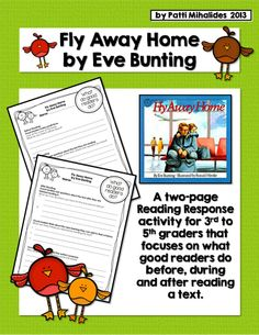 Fly Away Home by Eve Bunting: A reading response activity Reading Response Activities, Reading Intervention, Reading Strategies, Teaching Reading, Book Activities, Teaching Ideas, Reading Lessons, Learning, Eve Bunting