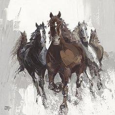 Les chevaux II ~ Fine-Art Print - Horse Art Prints and Posters - Horses Pictures Painted Horses, Art Aquarelle, Watercolor Art, Horse Posters, Horse Artwork, Painting Wallpaper, Photo Wallpaper, Art And Illustration, Horse Print
