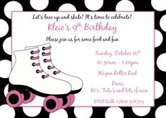 printable pink and black roller skate birthday invitation for girls - Roller Skating Birthday Party Invitations