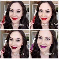 Anastasia Beverly Hills Liquid Lipsticks lip swatches: Bloodline, America Doll, Vintage, Sad Girl - BeautywithEmilyFox
