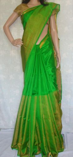 Uppada Parrot Green Color Half Tissue Silk Saree with Blouse by UppadaPattu on Etsy