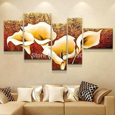 5 Pcs 100% Hand-painted Autumn Golden Lily Flower Oil Painting On Canvas Wall Decor Pictures Art Home Decoration For Living Room