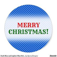 Dark Blue and Lighter Blue Stripes Pattern Classic Round Sticker - christmas stickers xmas eve custom holiday merry christmas Dark Blue, Light Blue, Christmas Stickers, Merry Christmas, Xmas, Round Stickers, Blue Stripes, Lighter, Templates