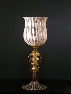 Art glass goblet in retortoli filigree.