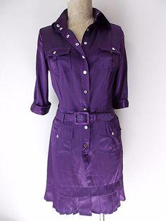 bebe Dress Size Medium Pleated Hem Purple Silk Belted Mini Snaps up front #bebe #Sheath #Clubwear