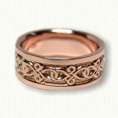 14kt Rose Gold Celtic Figure 8 Knot Wedding Band- Available In All Metals and Sizes