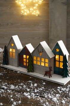 Next Lit Houses Scene Decoration -  Red