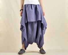 Blue Cotton Linen Wide Leg Pants Short Skirt Hanging Crotch Pants Skirt Pants Travel Must Pants Loose Clothing on Etsy, $59.00