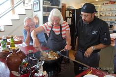 My mother taking instruction from Chef Norm while my dad watches on…. Dad Watches, Pei Canada, Prince Edward Island, Cooking Classes, My Dad, Travel, Food, Voyage, Meal