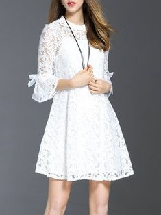 White Guipure Lace Frill Sleeve Girly Mini Dress