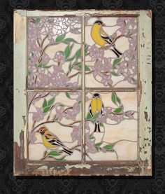 Love the stained glass in an old window frame. Mosaic Windows, Antique Stained Glass Windows, Stained Glass Birds, Stained Glass Designs, Stained Glass Projects, Stained Glass Patterns, Mosaic Animals, Mosaic Birds, Glass Animals