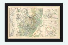Vintage map of Savannah GA Georgia 1895 United by OldCityPrints, $45.00