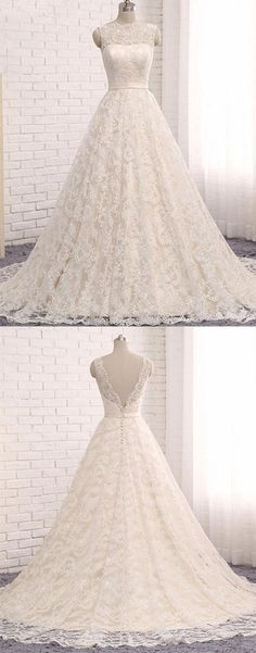 Custom made A line Lace Tulle Long Wedding Dresses,Backless Scoop Ivory Sleeveless Bridal Dress,#ivory,#lace,#weddingdress,#long,#tulle,#scoop,#bridaldress,#elegant,#simple