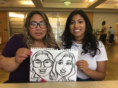 2 girls drawn from Lina the caricature artist at a recent event. Caricature Artist, Recent Events, 2 Girl, Caricatures, Favours, Portrait, Illustration, Gifts, Color