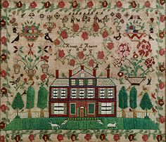 """Hannah Hancock 1840. This American sampler has really hung onto its bright colors, and it's in remarkably good shape. It sold for $100,000. This is a """"busy"""" sampler, visually, and although it is really neat, I feel like it's a little hard to look at."""