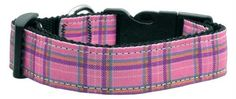Mirage Pet Products Plaid Nylon Collar Medium Pink *** Want to know more, click on the image.Note:It is affiliate link to Amazon.