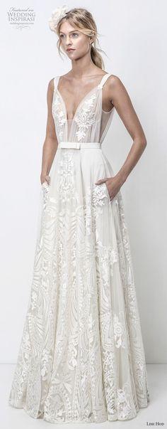 lihi hod 2018 bridal sleeveless deep v neck full embellishment romantic soft a line wedding dress with pockets open v back sweep train (17) mv -- Lihi Hod 2018 Wedding Dresses